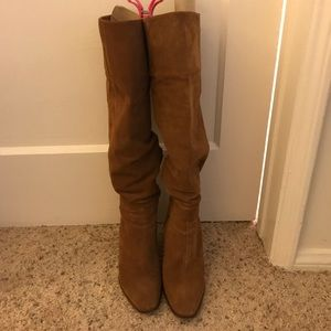 Zara suede material tan knee high boots 39